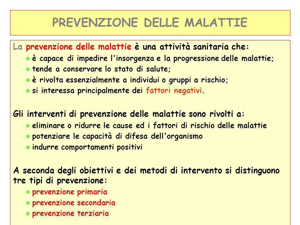 Prevenzione primaria = Prima che si instauri la malattia: Rimozione dei fattori di rischio (ad esempio, campagne contro il fumo o contro lalcolismo, vaccinazioni).
