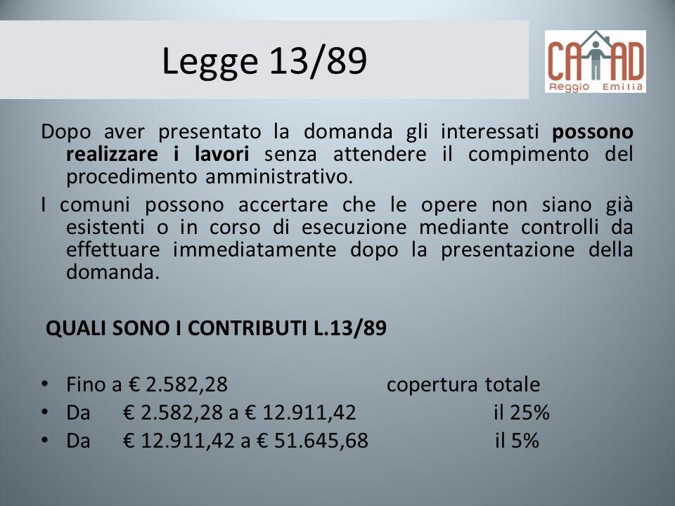 Legge 13/89 Dopo aver presentato la domanda gli interessati possono realizzare i lavori senza attendere il compimento del procedimento amministrativo.