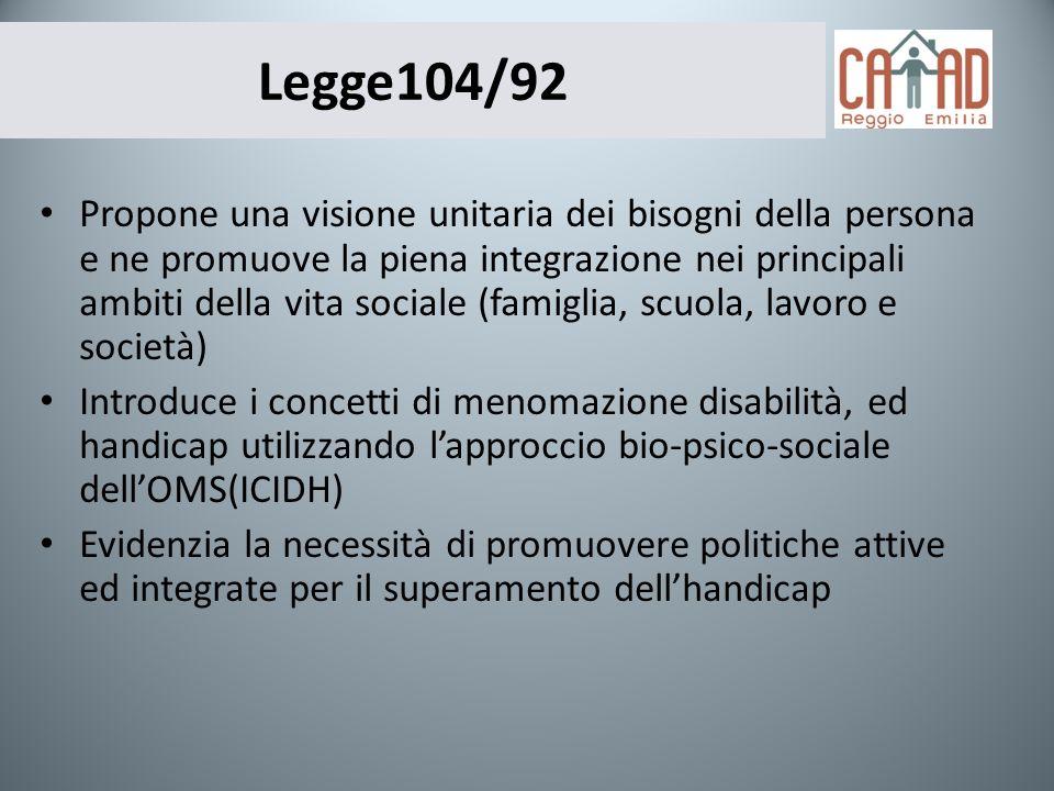 Legge104/92 Propone una visione unitaria dei bisogni della persona e ne promuove la piena integrazione nei principali ambiti della vita sociale (famig