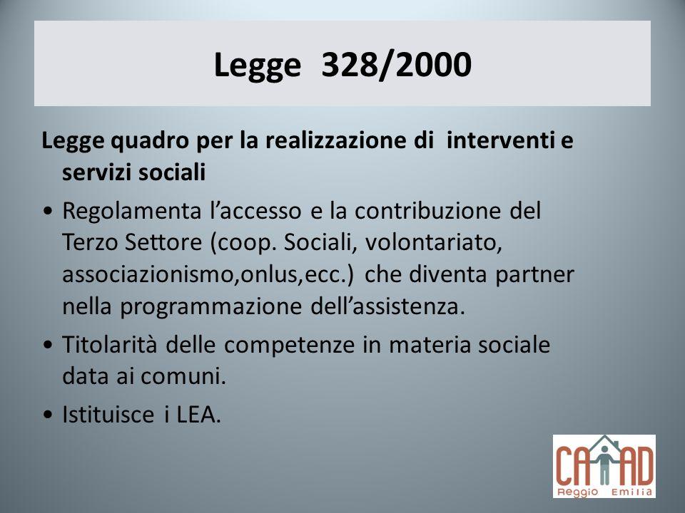 Legge 328/2000 Legge quadro per la realizzazione di interventi e servizi sociali Regolamenta laccesso e la contribuzione del Terzo Settore (coop. Soci
