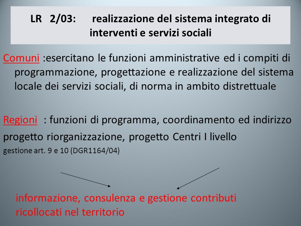 LR 2/03: realizzazione del sistema integrato di interventi e servizi sociali Comuni :esercitano le funzioni amministrative ed i compiti di programmazi