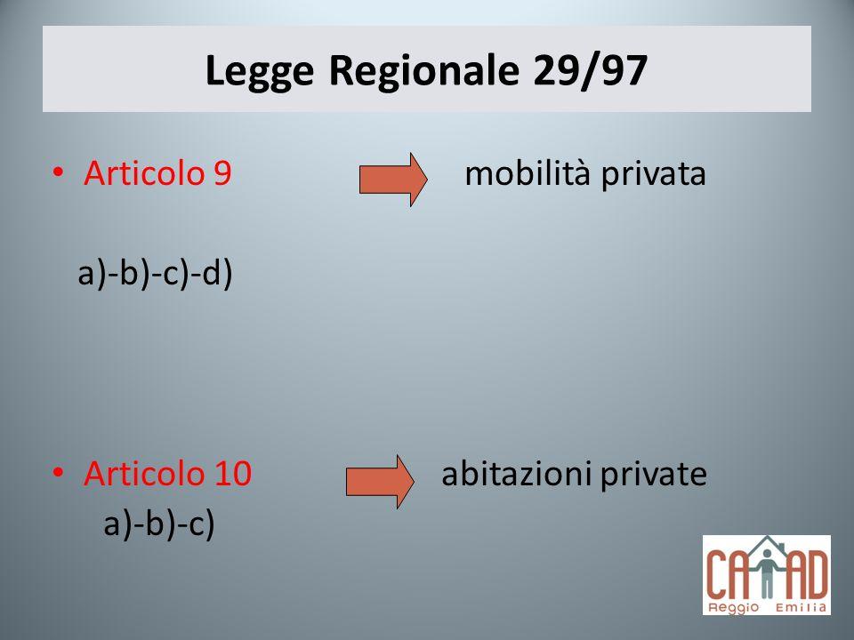 Legge Regionale 29/97 Articolo 9 mobilità privata a)-b)-c)-d) Articolo 10 abitazioni private a)-b)-c)