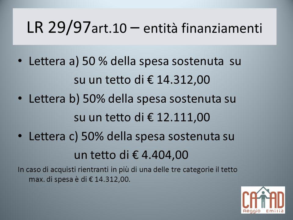 LR 29/97 art.10 – entità finanziamenti Lettera a) 50 % della spesa sostenuta su su un tetto di 14.312,00 Lettera b) 50% della spesa sostenuta su su un