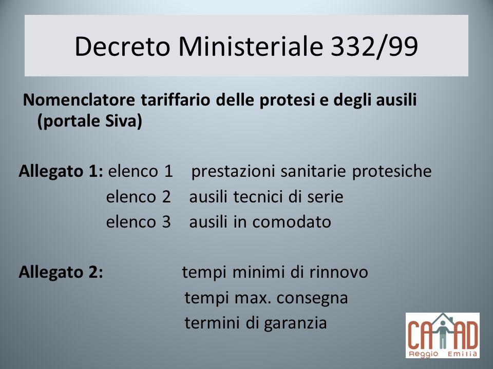 Decreto Ministeriale 332/99 Nomenclatore tariffario delle protesi e degli ausili (portale Siva) Allegato 1: elenco 1 prestazioni sanitarie protesiche