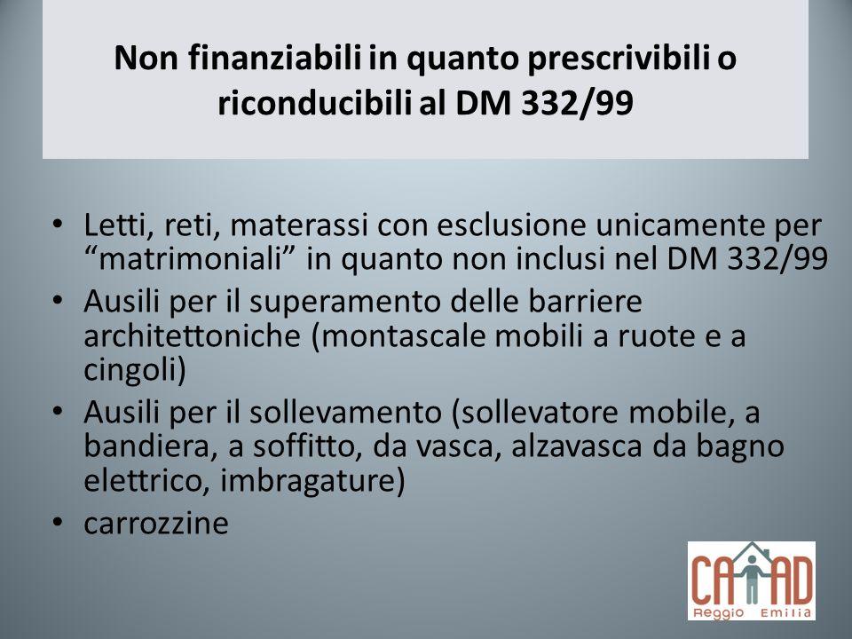Non finanziabili in quanto prescrivibili o riconducibili al DM 332/99 Letti, reti, materassi con esclusione unicamente per matrimoniali in quanto non
