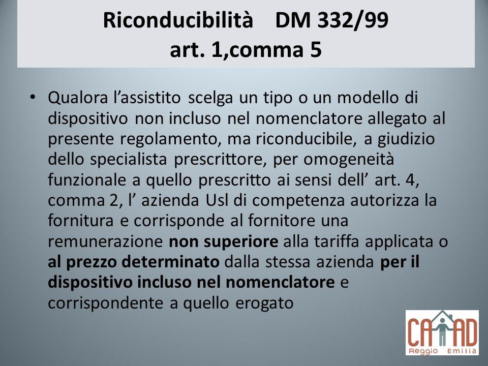 Riconducibilità DM 332/99 art. 1,comma 5 Qualora lassistito scelga un tipo o un modello di dispositivo non incluso nel nomenclatore allegato al presen