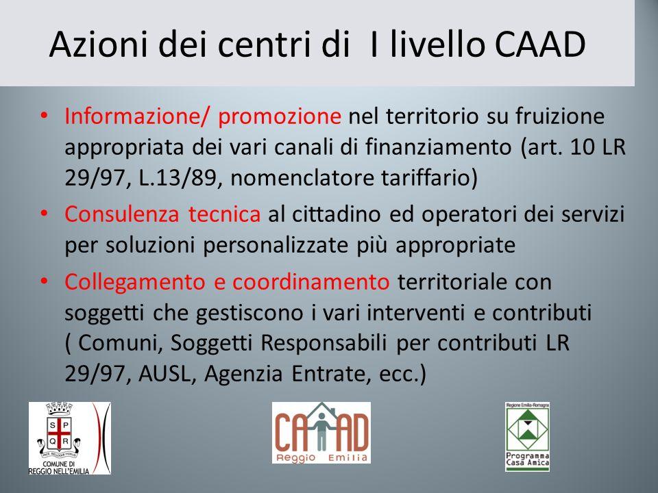 Azioni dei centri di I livello CAAD Informazione/ promozione nel territorio su fruizione appropriata dei vari canali di finanziamento (art. 10 LR 29/9