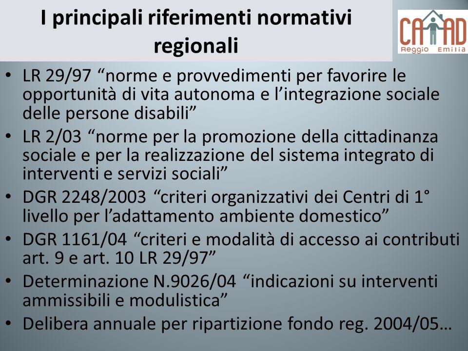 I principali riferimenti normativi regionali LR 29/97 norme e provvedimenti per favorire le opportunità di vita autonoma e lintegrazione sociale delle