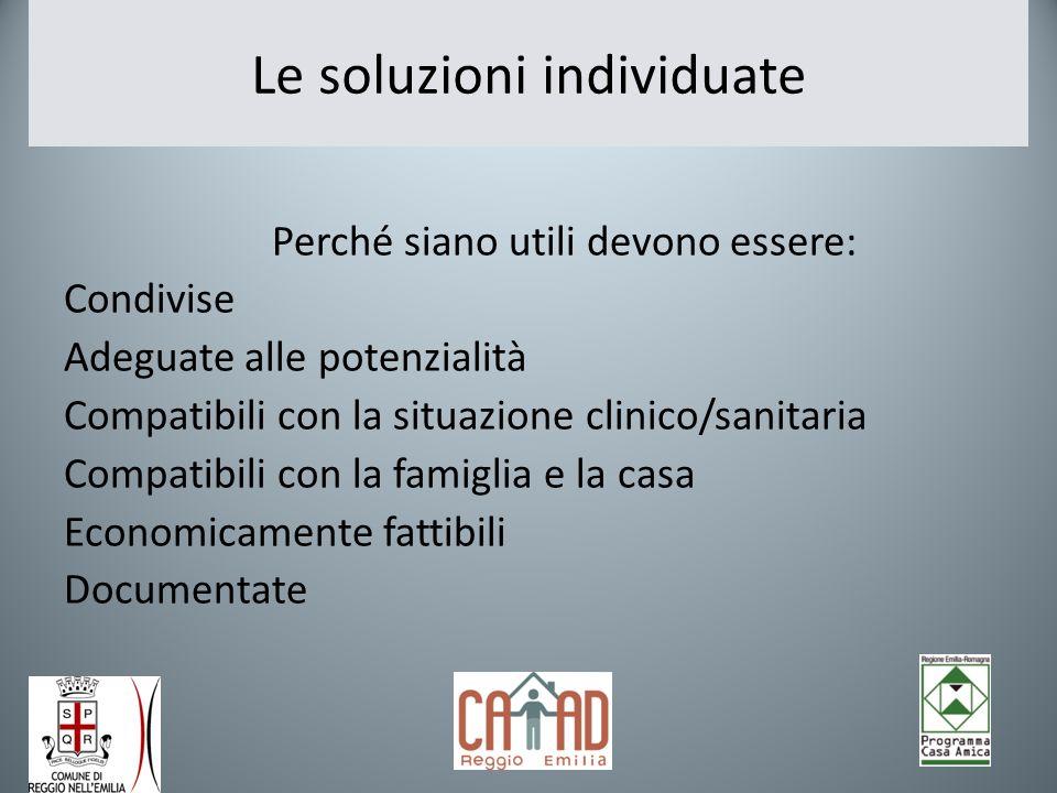 Le soluzioni individuate Perché siano utili devono essere: Condivise Adeguate alle potenzialità Compatibili con la situazione clinico/sanitaria Compat