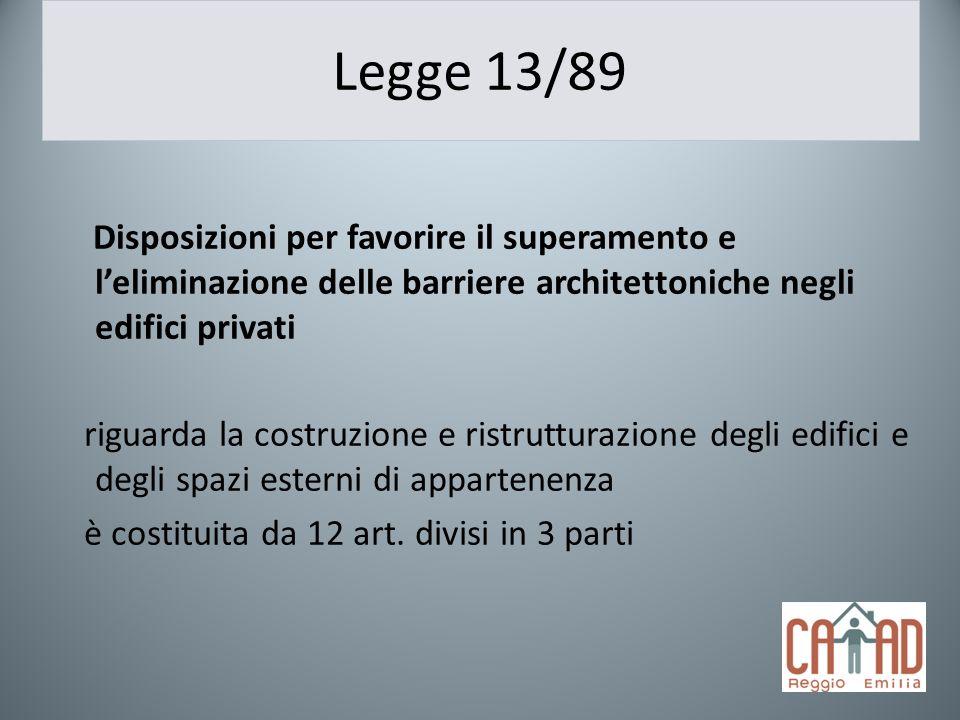 Legge 13/89 Disposizioni per favorire il superamento e leliminazione delle barriere architettoniche negli edifici privati riguarda la costruzione e ri