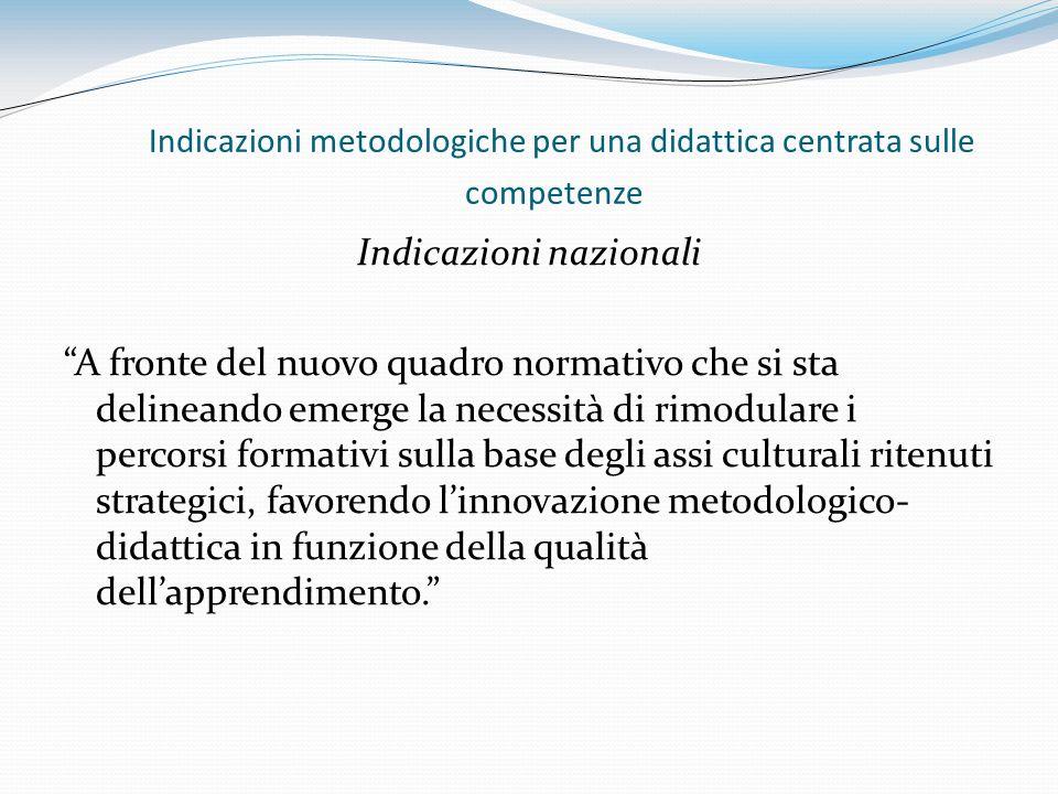 Indicazioni metodologiche per una didattica centrata sulle competenze Indicazioni nazionali A fronte del nuovo quadro normativo che si sta delineando