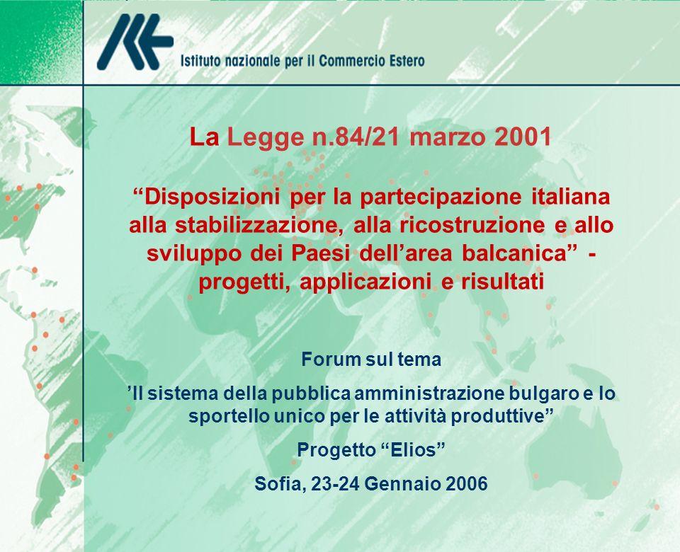 FORUM ECONOMICO DELLEUROPA SUD- EST Sofia, 1-2 Novembre 2005 La Legge n.84/21 marzo 2001 Disposizioni per la partecipazione italiana alla stabilizzazi