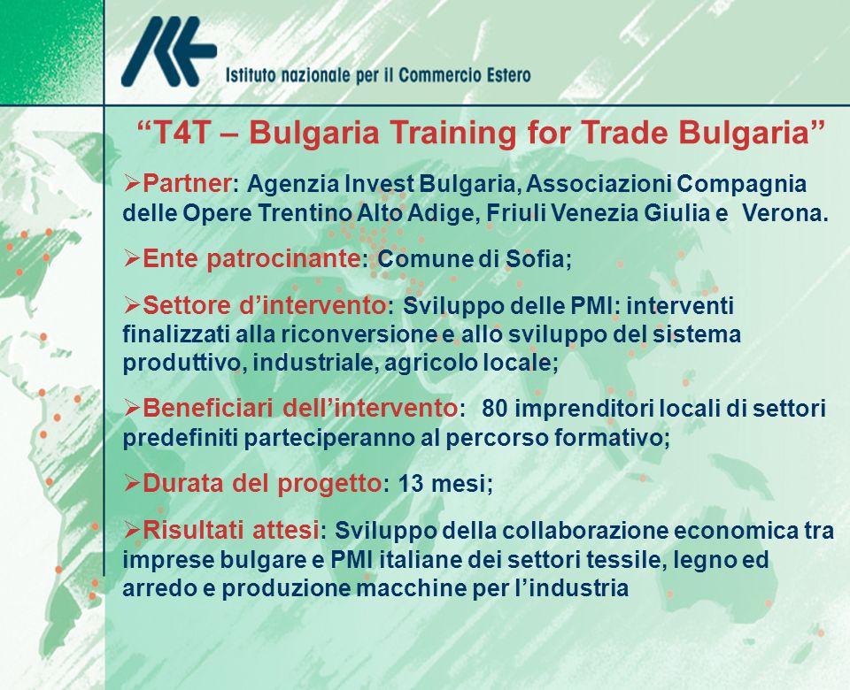 T4T – Bulgaria Training for Trade Bulgaria Partner : Agenzia Invest Bulgaria, Associazioni Compagnia delle Opere Trentino Alto Adige, Friuli Venezia Giulia e Verona.