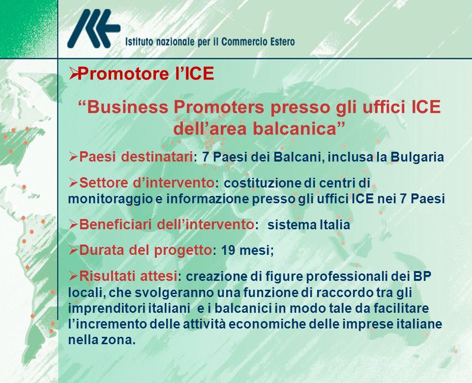 Promotore lICE Business Promoters presso gli uffici ICE dellarea balcanica Paesi destinatari : 7 Paesi dei Balcani, inclusa la Bulgaria Settore dintervento : costituzione di centri di monitoraggio e informazione presso gli uffici ICE nei 7 Paesi Beneficiari dellintervento : sistema Italia Durata del progetto : 19 mesi; Risultati attesi : creazione di figure professionali dei BP locali, che svolgeranno una funzione di raccordo tra gli imprenditori italiani e i balcanici in modo tale da facilitare lincremento delle attività economiche delle imprese italiane nella zona.