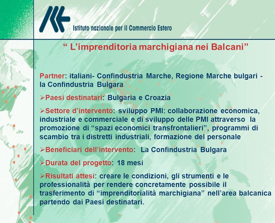 Limprenditoria marchigiana nei Balcani Partner: italiani- Confindustria Marche, Regione Marche bulgari - la Confindustria Bulgara Paesi destinatari: B