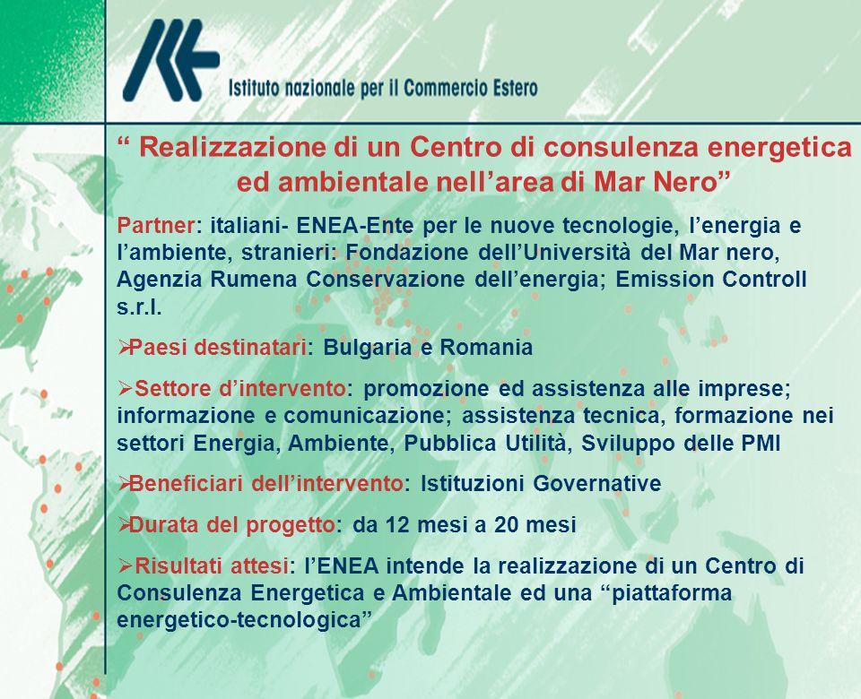 Realizzazione di un Centro di consulenza energetica ed ambientale nellarea di Mar Nero Partner: italiani- ENEA-Ente per le nuove tecnologie, lenergia