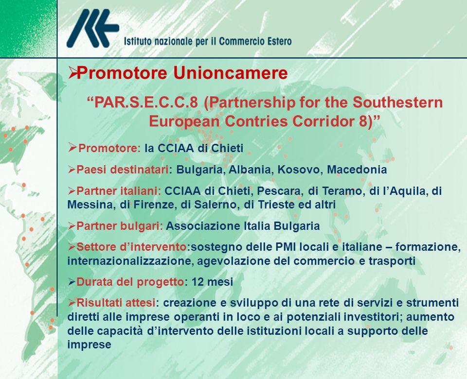 Promotore Unioncamere PAR.S.E.C.C.8 (Partnership for the Southestern European Contries Corridor 8) Promotore: la CCIAA di Chieti Paesi destinatari: Bu