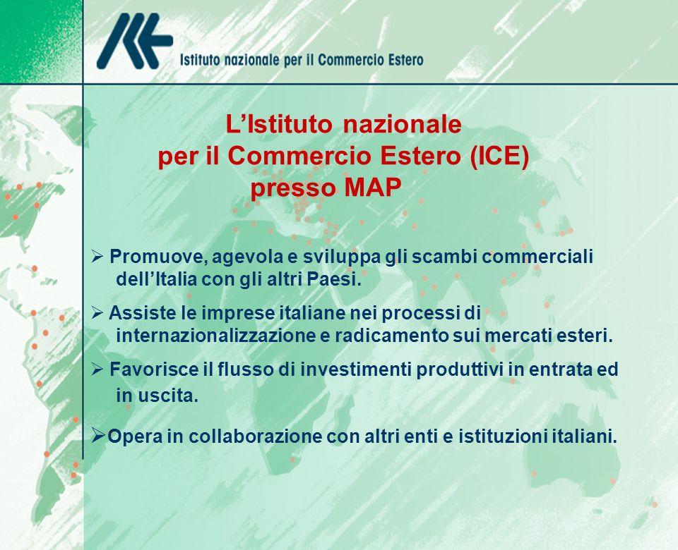 LIstituto nazionale per il Commercio Estero (ICE) presso MAP Promuove, agevola e sviluppa gli scambi commerciali dellItalia con gli altri Paesi.