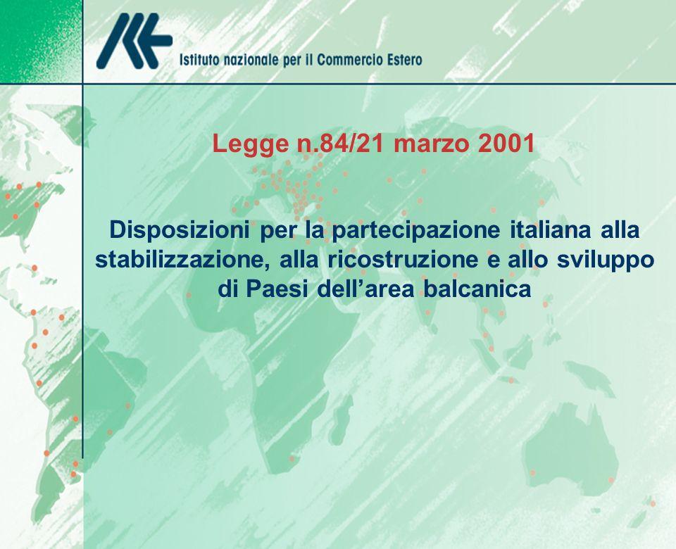 Legge n.84/21 marzo 2001 Disposizioni per la partecipazione italiana alla stabilizzazione, alla ricostruzione e allo sviluppo di Paesi dellarea balcanica
