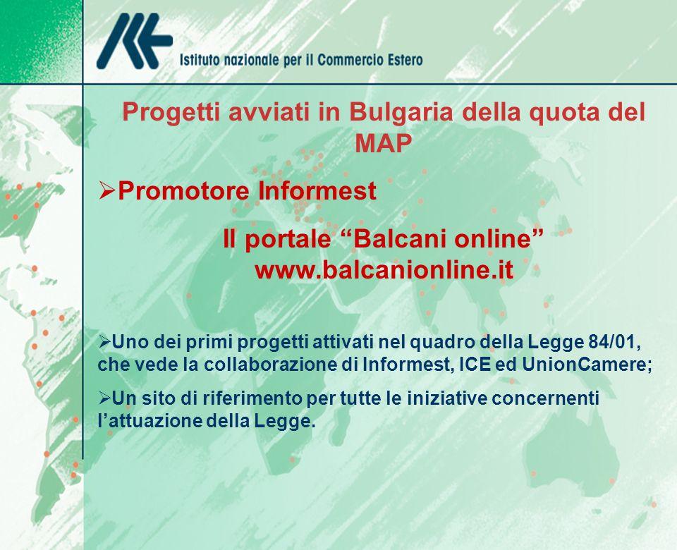 Progetti avviati in Bulgaria della quota del MAP Promotore Informest Il portale Balcani online www.balcanionline.it Uno dei primi progetti attivati ne