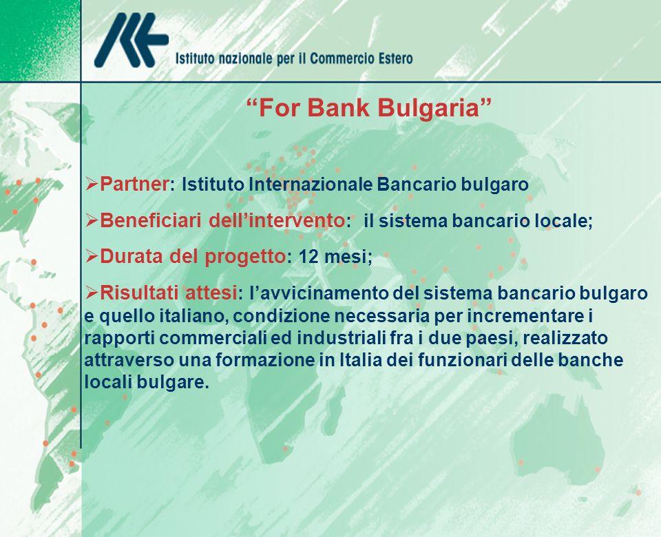 For Bank Bulgaria Partner : Istituto Internazionale Bancario bulgaro Beneficiari dellintervento : il sistema bancario locale; Durata del progetto : 12