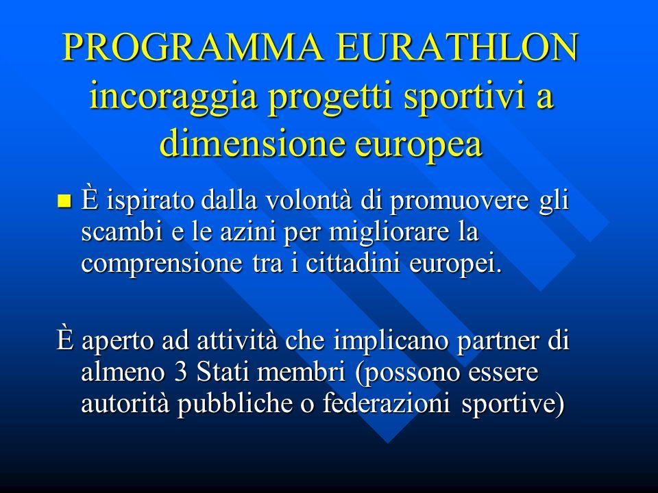 PROGRAMMA EURATHLON incoraggia progetti sportivi a dimensione europea È ispirato dalla volontà di promuovere gli scambi e le azini per migliorare la comprensione tra i cittadini europei.