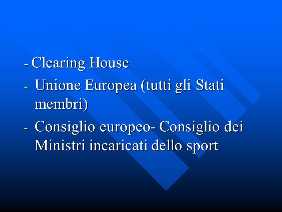 - Clearing House - Unione Europea (tutti gli Stati membri) - Consiglio europeo- Consiglio dei Ministri incaricati dello sport