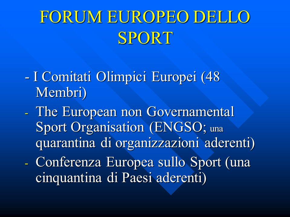 FORUM EUROPEO DELLO SPORT - I Comitati Olimpici Europei (48 Membri) - The European non Governamental Sport Organisation (ENGSO; una quarantina di organizzazioni aderenti) - Conferenza Europea sullo Sport (una cinquantina di Paesi aderenti)