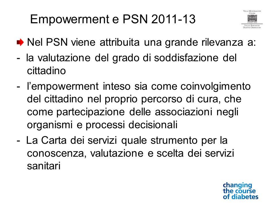 Nel PSN viene attribuita una grande rilevanza a: - la valutazione del grado di soddisfazione del cittadino -lempowerment inteso sia come coinvolgiment