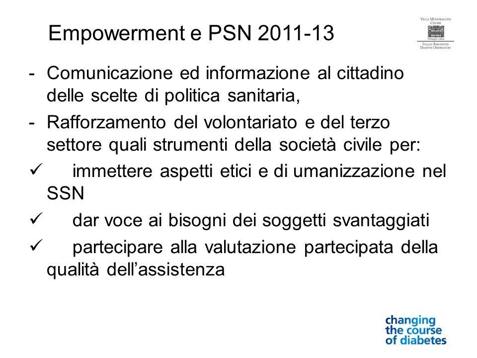 -Comunicazione ed informazione al cittadino delle scelte di politica sanitaria, -Rafforzamento del volontariato e del terzo settore quali strumenti de