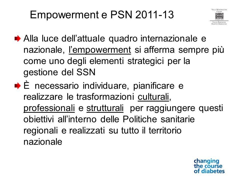 Alla luce dellattuale quadro internazionale e nazionale, lempowerment si afferma sempre più come uno degli elementi strategici per la gestione del SSN
