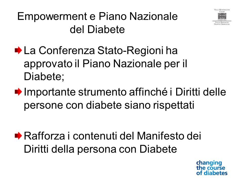 Empowerment e Piano Nazionale del Diabete La Conferenza Stato-Regioni ha approvato il Piano Nazionale per il Diabete; Importante strumento affinché i