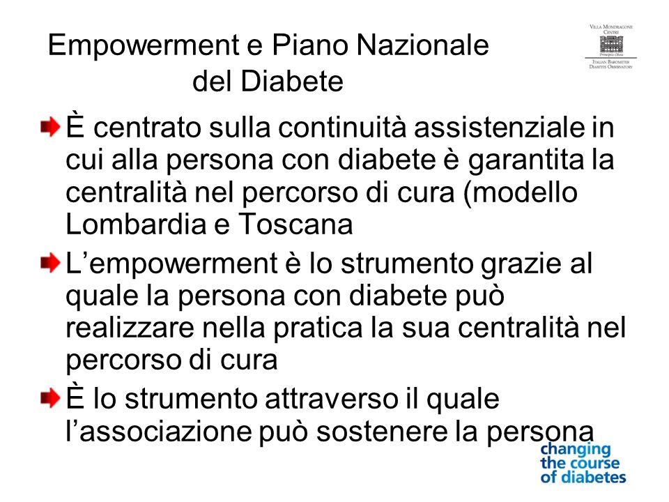 Empowerment e Piano Nazionale del Diabete È centrato sulla continuità assistenziale in cui alla persona con diabete è garantita la centralità nel perc