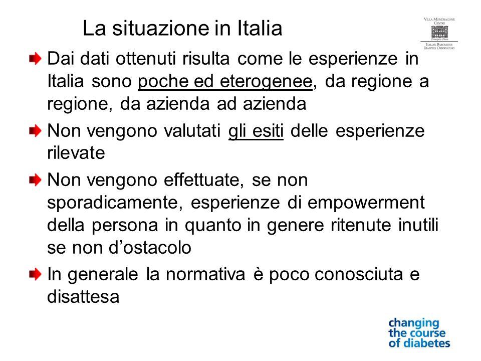 Dai dati ottenuti risulta come le esperienze in Italia sono poche ed eterogenee, da regione a regione, da azienda ad azienda Non vengono valutati gli
