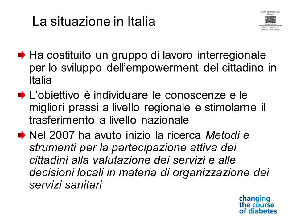 Ha costituito un gruppo di lavoro interregionale per lo sviluppo dellempowerment del cittadino in Italia Lobiettivo è individuare le conoscenze e le m