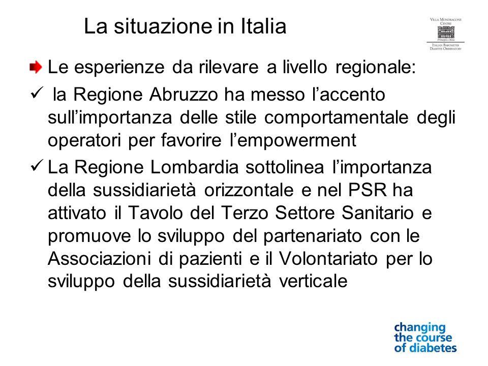 Le esperienze da rilevare a livello regionale: la Regione Abruzzo ha messo laccento sullimportanza delle stile comportamentale degli operatori per fav