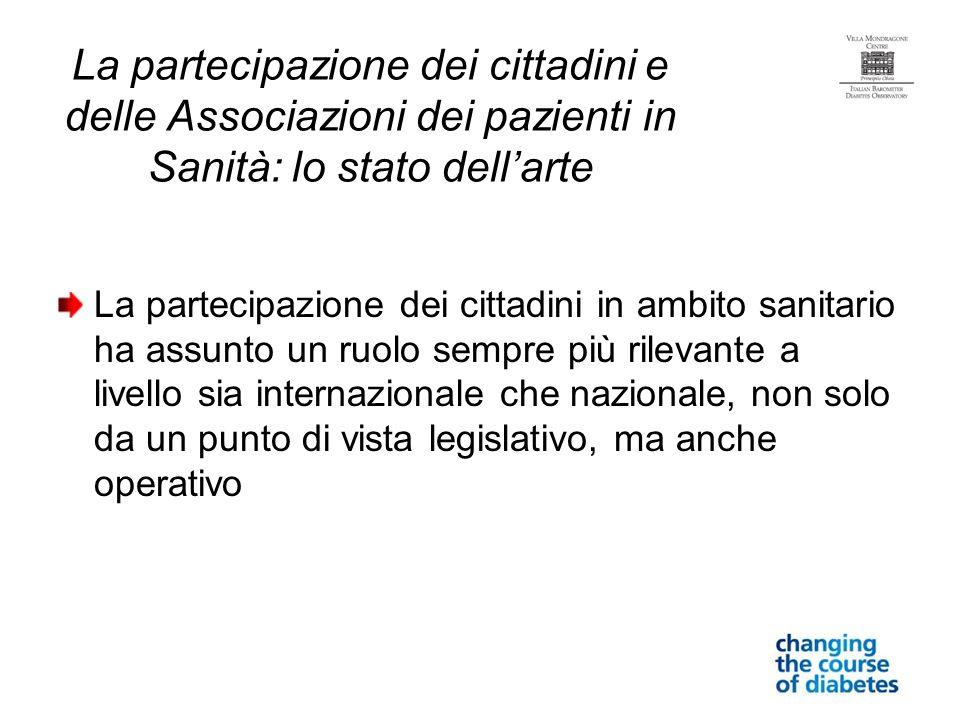 La partecipazione dei cittadini e delle Associazioni dei pazienti in Sanità: lo stato dellarte La partecipazione dei cittadini in ambito sanitario ha