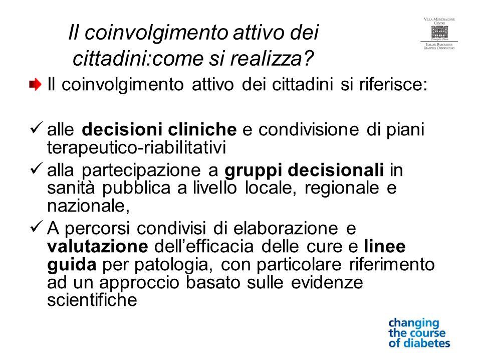 Il coinvolgimento attivo dei cittadini:come si realizza? Il coinvolgimento attivo dei cittadini si riferisce: alle decisioni cliniche e condivisione d