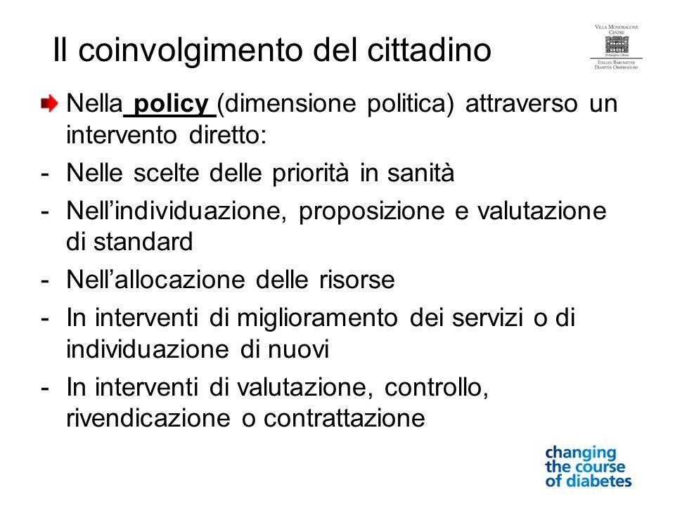 Nella policy (dimensione politica) attraverso un intervento diretto: -Nelle scelte delle priorità in sanità -Nellindividuazione, proposizione e valuta