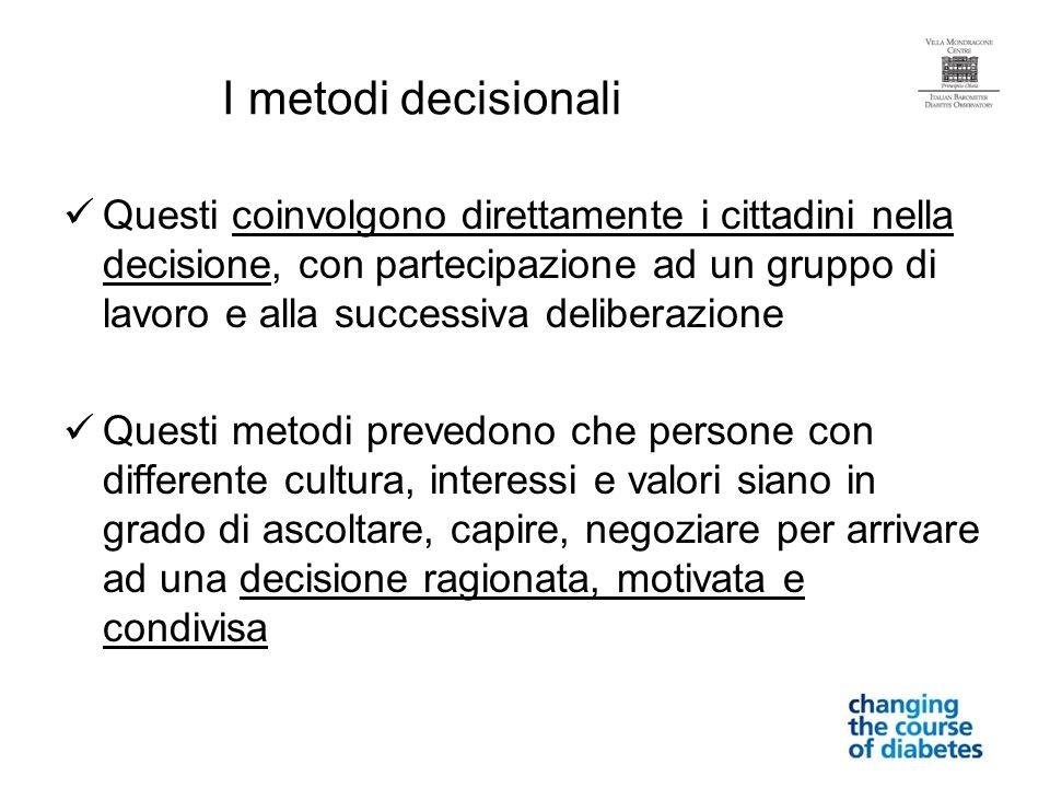 I metodi decisionali Questi coinvolgono direttamente i cittadini nella decisione, con partecipazione ad un gruppo di lavoro e alla successiva delibera
