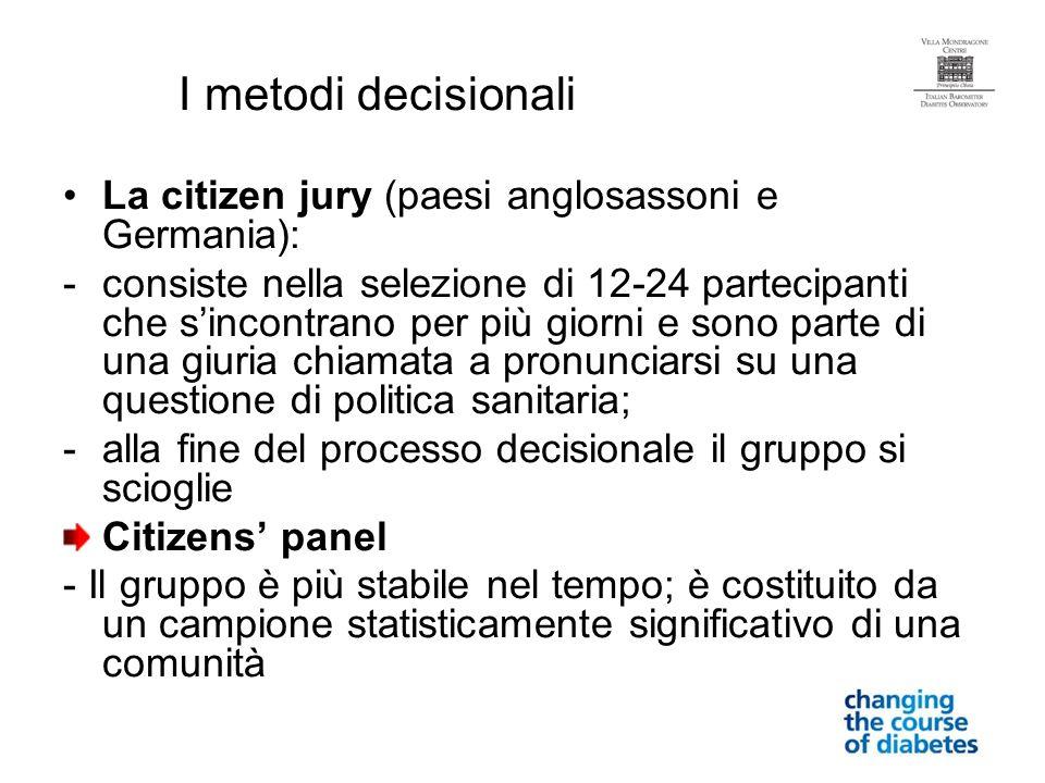 I metodi decisionali La citizen jury (paesi anglosassoni e Germania): -consiste nella selezione di 12-24 partecipanti che sincontrano per più giorni e