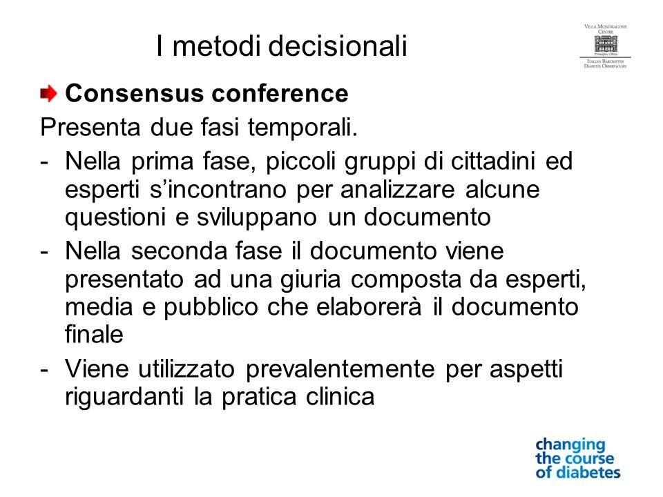 Consensus conference Presenta due fasi temporali. -Nella prima fase, piccoli gruppi di cittadini ed esperti sincontrano per analizzare alcune question