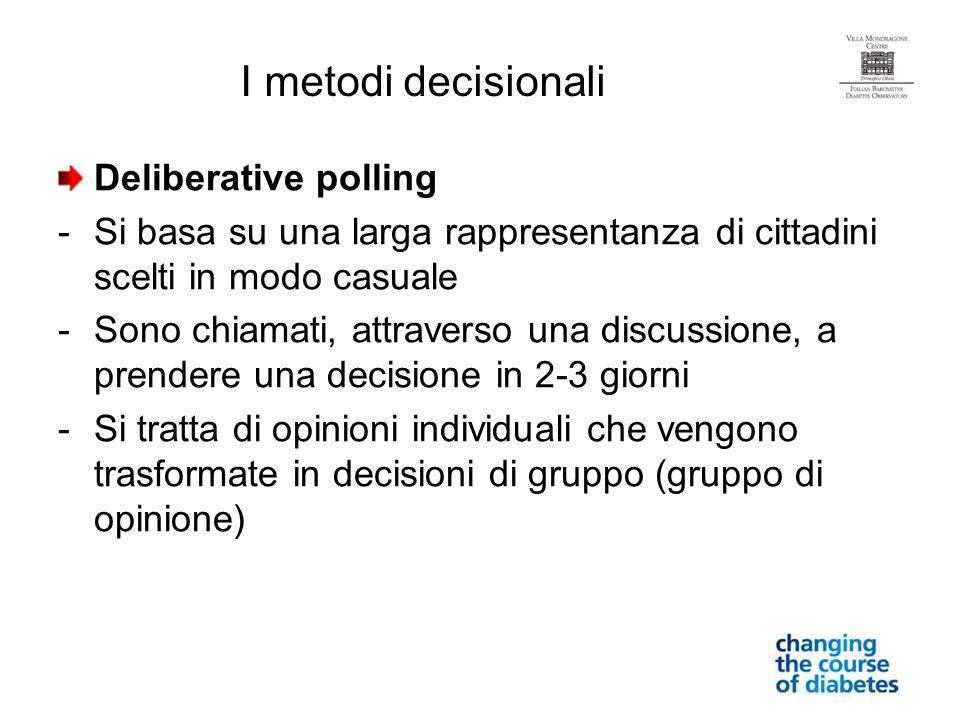 Deliberative polling -Si basa su una larga rappresentanza di cittadini scelti in modo casuale -Sono chiamati, attraverso una discussione, a prendere u