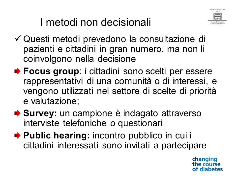 I metodi non decisionali Questi metodi prevedono la consultazione di pazienti e cittadini in gran numero, ma non li coinvolgono nella decisione Focus