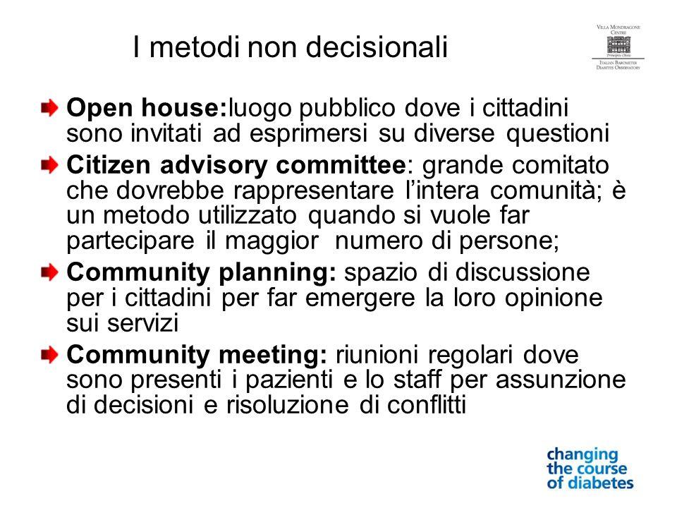 Open house:luogo pubblico dove i cittadini sono invitati ad esprimersi su diverse questioni Citizen advisory committee: grande comitato che dovrebbe r
