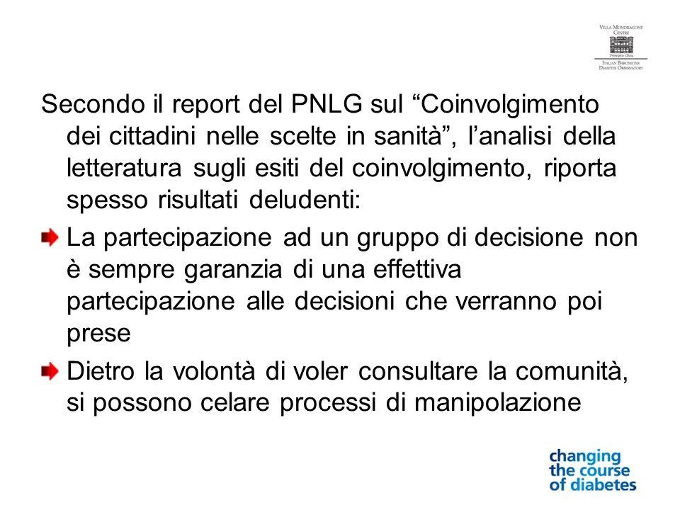 Secondo il report del PNLG sul Coinvolgimento dei cittadini nelle scelte in sanità, lanalisi della letteratura sugli esiti del coinvolgimento, riporta