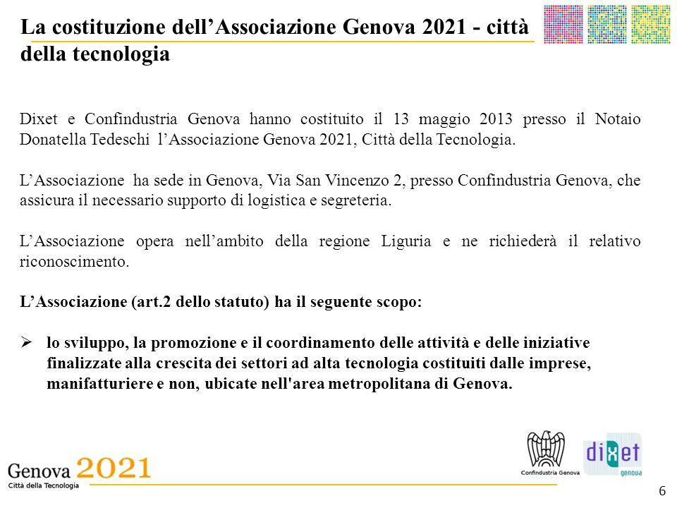 __________________________________________ _______________________________________ La costituzione dellAssociazione Genova 2021 - città della tecnolog