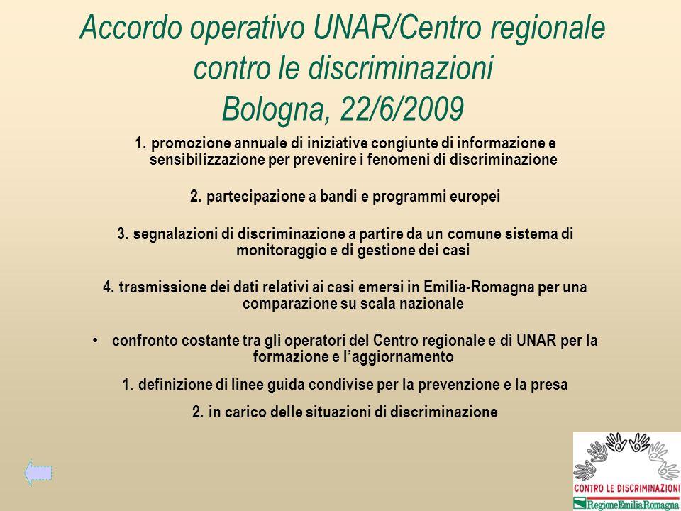 Accordo operativo UNAR/Centro regionale contro le discriminazioni Bologna, 22/6/2009 1.promozione annuale di iniziative congiunte di informazione e se