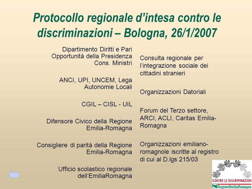 Protocollo regionale dintesa contro le discriminazioni – Bologna, 26/1/2007 Dipartimento Diritti e Pari Opportunità della Presidenza Cons.