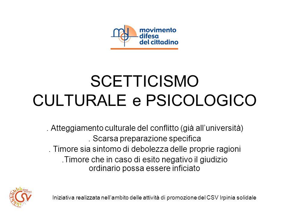 SCETTICISMO CULTURALE e PSICOLOGICO. Atteggiamento culturale del conflitto (già alluniversità).